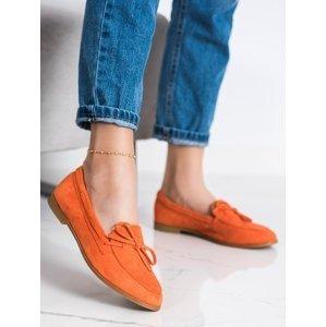 Pohodlné  mokasíny dámské oranžové na plochém podpatku