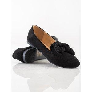 Moderní dámské černé  mokasíny na plochém podpatku