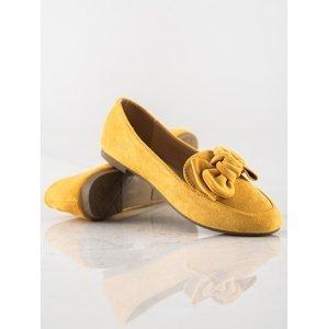 Trendy zlaté  mokasíny dámské na plochém podpatku