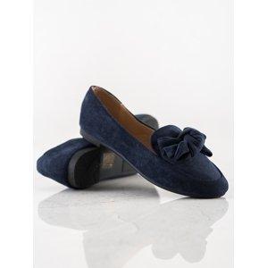 Praktické  mokasíny modré dámské na plochém podpatku