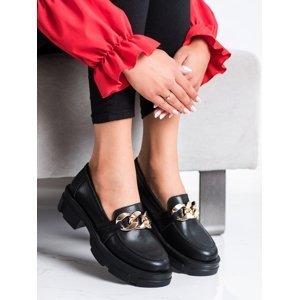 Krásné černé dámské  mokasíny na širokém podpatku