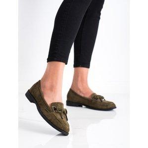 Krásné  mokasíny zelené dámské na plochém podpatku