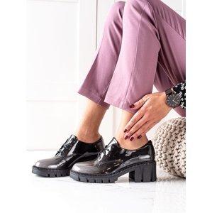 Designové  polobotky dámské šedo-stříbrné na plochém podpatku