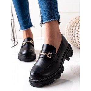 Klasické dámské  polobotky černé na plochém podpatku