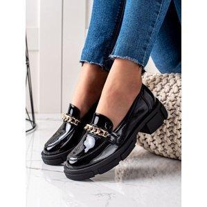 Luxusní  polobotky černé dámské na plochém podpatku