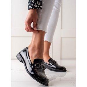 Komfortní černé  mokasíny dámské bez podpatku