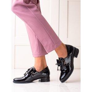 Designové dámské  polobotky černé na širokém podpatku