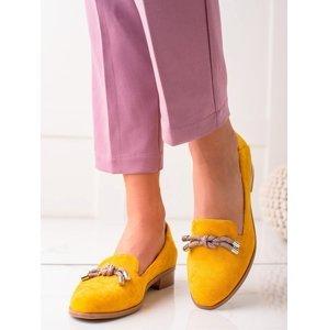 Stylové zlaté dámské  mokasíny na plochém podpatku