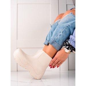 Pohodlné bílé dámské  gumáky na plochém podpatku