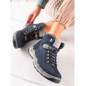 Luxusní dámské modré  trekingové boty bez podpatku