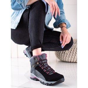 Exkluzívní černé  trekingové boty dámské na plochém podpatku