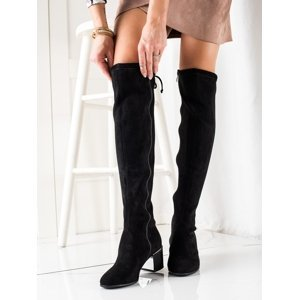 Moderní  kozačky dámské černé na širokém podpatku
