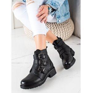 Pěkné černé  kotníčkové boty dámské na plochém podpatku