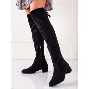 Klasické  kozačky černé dámské na širokém podpatku