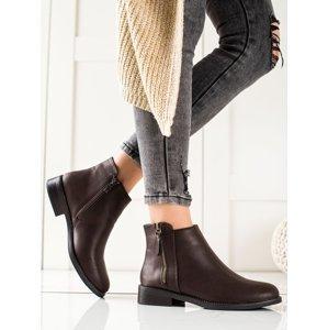 Komfortní  kotníčkové boty hnědé dámské na plochém podpatku