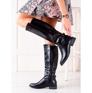 Luxusní  kozačky černé dámské na plochém podpatku