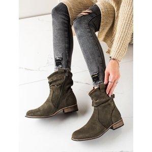 Originální  kotníčkové boty zelené dámské na plochém podpatku