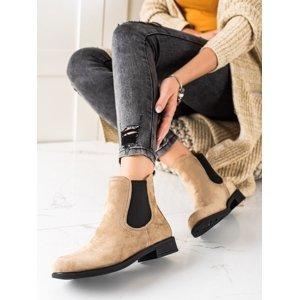 Trendy  kotníčkové boty hnědé dámské na plochém podpatku