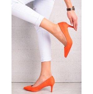 Moderní  lodičky oranžové dámské na jehlovém podpatku