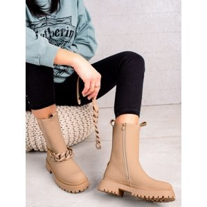 Designové  kotníčkové boty dámské hnědé na plochém podpatku