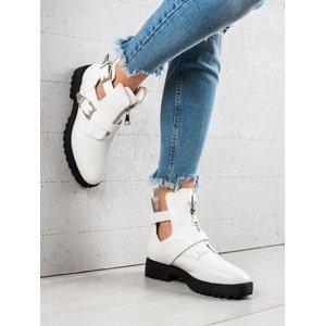 Luxusní dámské  kotníčkové boty bílé na plochém podpatku