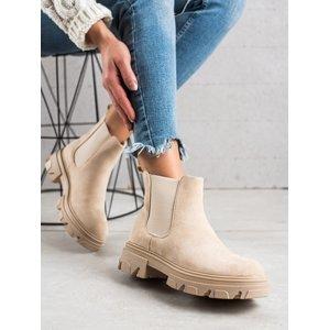 Originální  kotníčkové boty hnědé dámské na plochém podpatku