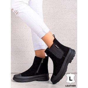 Praktické  kotníčkové boty černé dámské bez podpatku