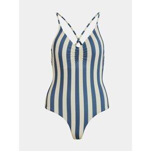 Krémovo-modré pruhované jednodílné plavky .OBJECT Francise