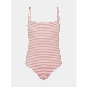 Bílo-růžové pruhované jednodílné plavky VERO MODA Emily