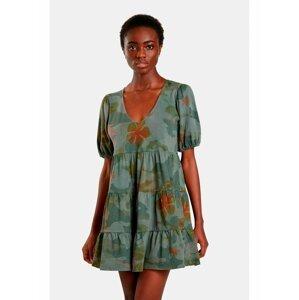 Khaki dámské květované šaty Desigual Cam