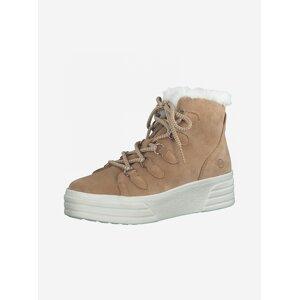 Hnědé semišové zimní boty Tamaris