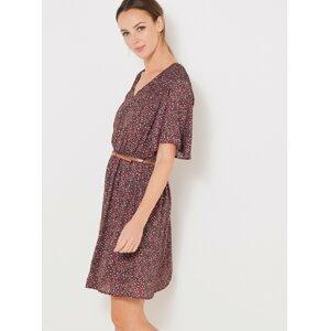 Hnědé květované šaty s páskem CAMAIEU