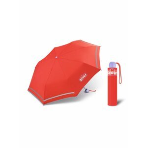 Scout BASIC RED dívčí skládací deštník s reflexním proužkem - Červená