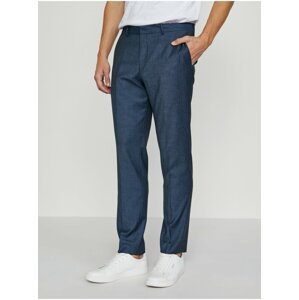 Tmavě modré oblekové kalhoty s příměsí vlny Selected Homme My Lobbi
