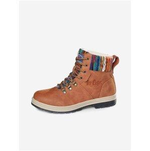 Hnědé dámské kotníkové zimní boty Lee Cooper