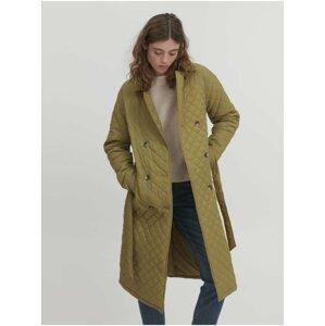 Khaki dámský prošívaný se zavazováním kabát ICHI