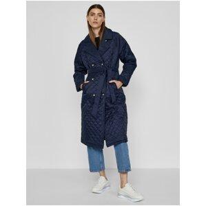 Tmavě modrý dámský prošívaný kabát se zavazováním ICHI