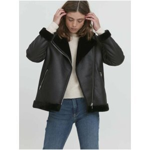 Černá dámská koženková bunda ICHI