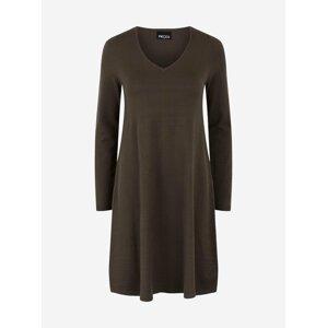 Khaki svetrové šaty Pieces Cenia