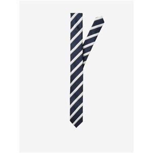 Bílo-modrá pánská pruhovaná kravata Selected Homme Aaron