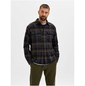 Hnědo-modrá pánská kostkovaná košile Selected Homme Loose Alfred