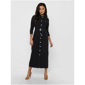 Černé dámské dlouhé džínové košilové šaty s páskem ONLY Myth
