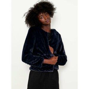 Tmavě modrý prošívaný kabátek s umělým kožíškem CAMAIEU