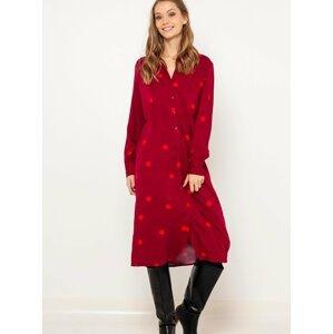 Červené puntíkované midi šaty CAMAIEU