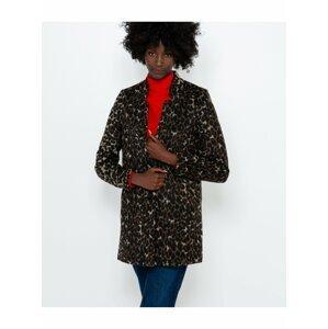 Hnědý krátký kabát s příměsí lnu s gepardím vzorem CAMAIEU