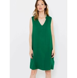 Tmavě zelené šaty s průstřihem na zádech CAMAIEU