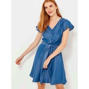 Modré propínací šaty CAMAIEU