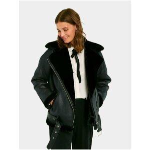 Černá koženková bunda s kožíškem Pieces Dora