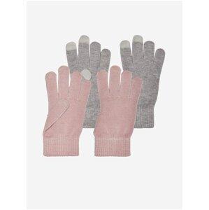 Sada dvou párů rukavic v šedé a růžové barvě ONLY Magic