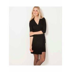 Černé krátké šaty s 3/4 rukávem CAMAIEU